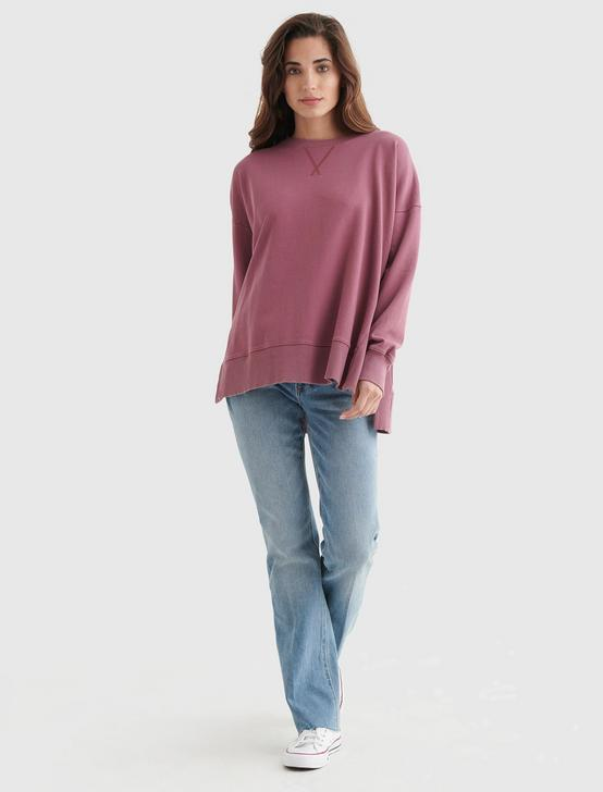 FLEECE CREW NECK PULLOVER, CRUSHED BERRY, productTileDesktop