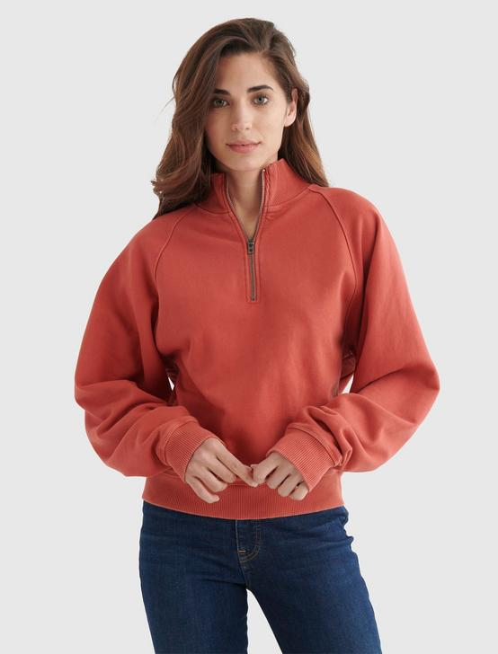 QUARTER-ZIP FLEECE PULLOVER, TANDORI SPICE, productTileDesktop