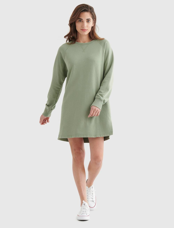 FLEECE-KNIT SWEATSHIRT DRESS, image 1