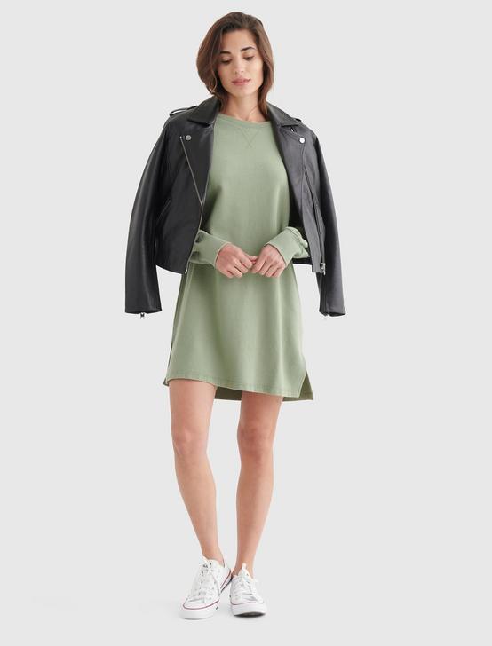 FLEECE-KNIT SWEATSHIRT DRESS, LOOSELEAF, productTileDesktop
