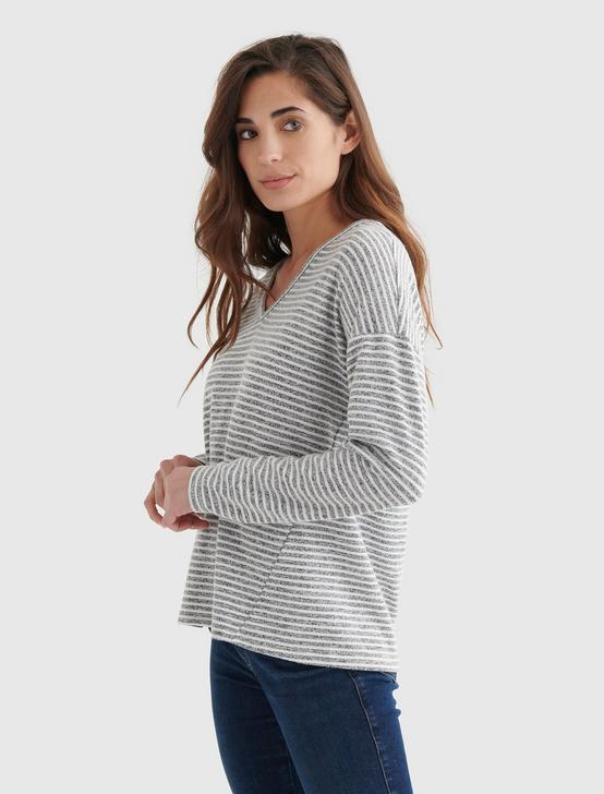 CLOUD JERSEY V-NECK LONG SLEEVE TOP, GREY STRIPE, productTileDesktop