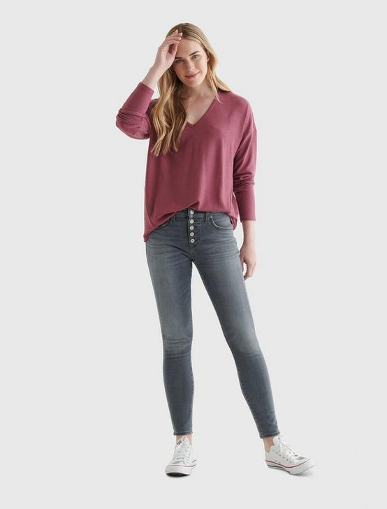 CLOUD JERSEY V-NECK LONG SLEEVE TOP, CRUSHED BERRY, productTileDesktop