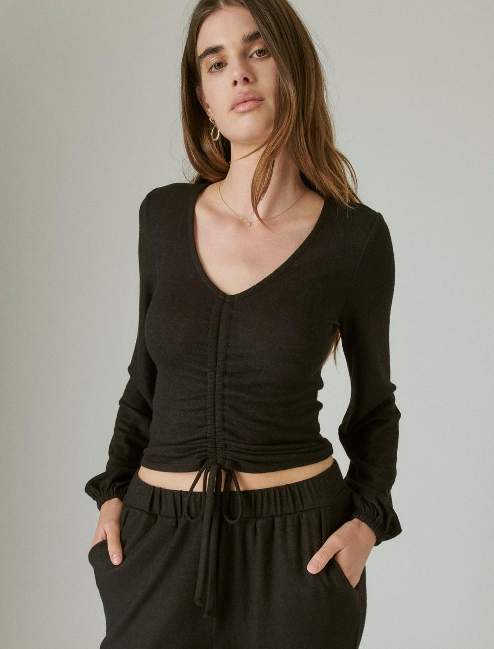 CLOUD JERSEY RIBBED RUCHED TOP, image 1