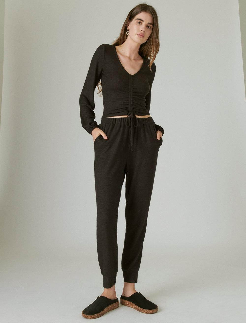 CLOUD JERSEY RIBBED RUCHED TOP, image 2