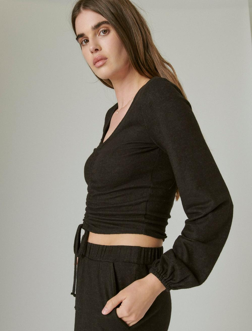 CLOUD JERSEY RIBBED RUCHED TOP, image 3