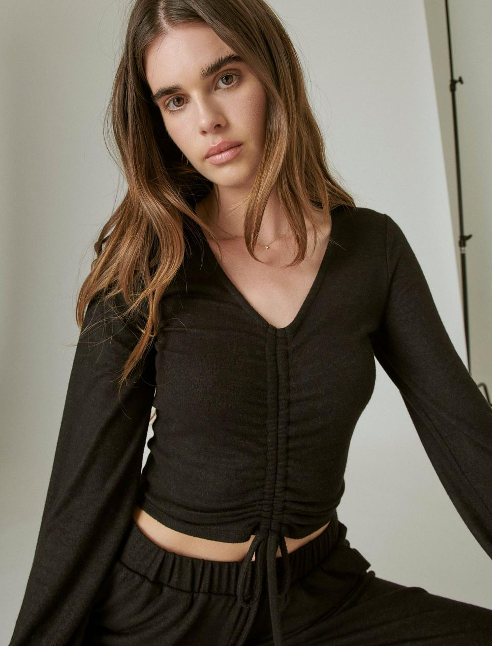 CLOUD JERSEY RIBBED RUCHED TOP, image 6