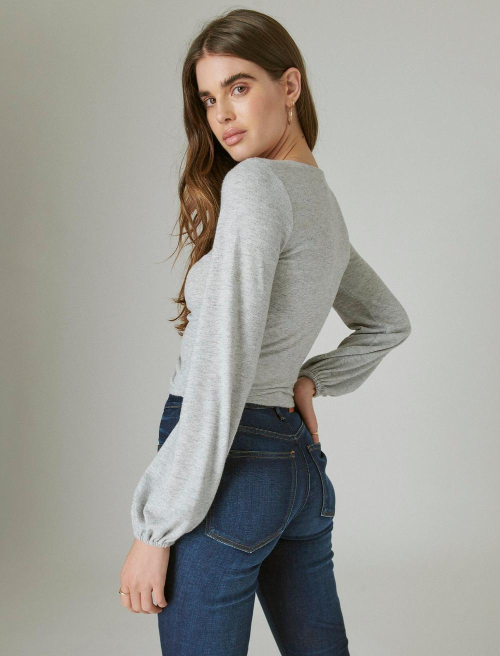 CLOUD JERSEY RIBBED RUCHED TOP, image 4