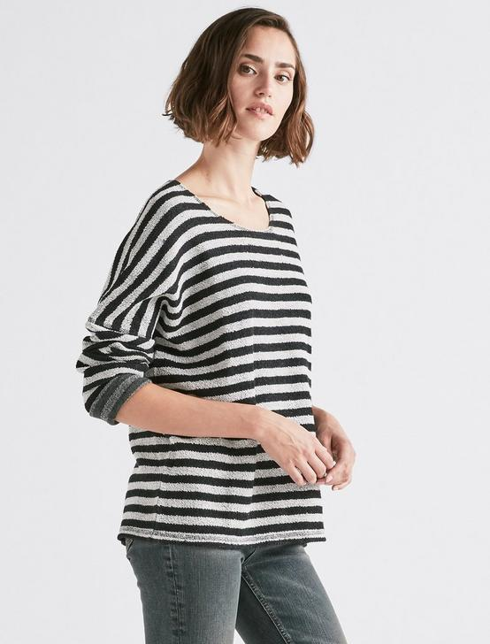 TERRY STRIPE PULLOVER, BLACK MULTI, productTileDesktop