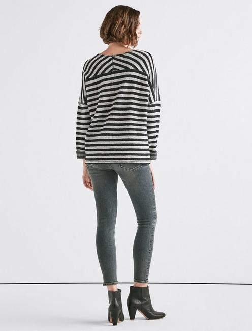 TERRY STRIPE PULLOVER, BLACK MULTI