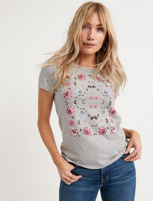 FLOWERS TEE, HEATHER GREY