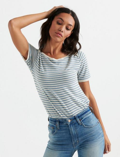 Lucky Boatneck Metallic Stripe Tee