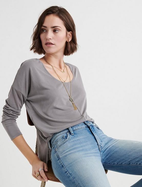 SANDWASH SCOOP NECK TEE, STEEL GRAY, productTileDesktop
