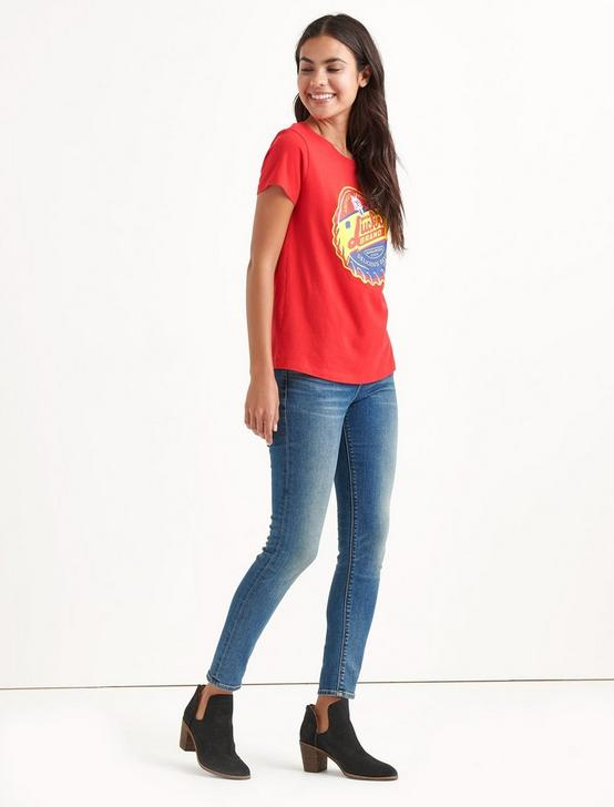 Totally Lucky America's Fave Crew Tee, CHINESE RED, productTileDesktop
