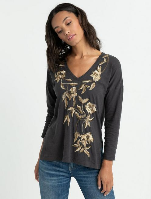 METALLIC EMBROIDERED FLORAL TEE,