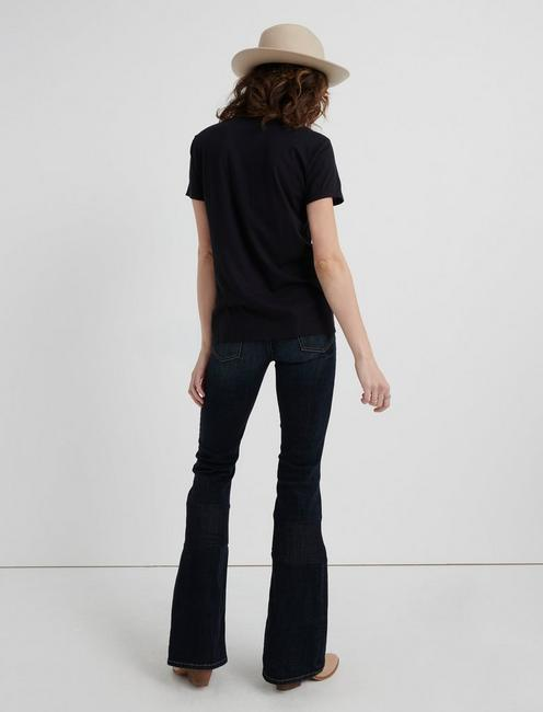WESTERN EMBROIDERED NECK TEE, 001 LUCKY BLACK