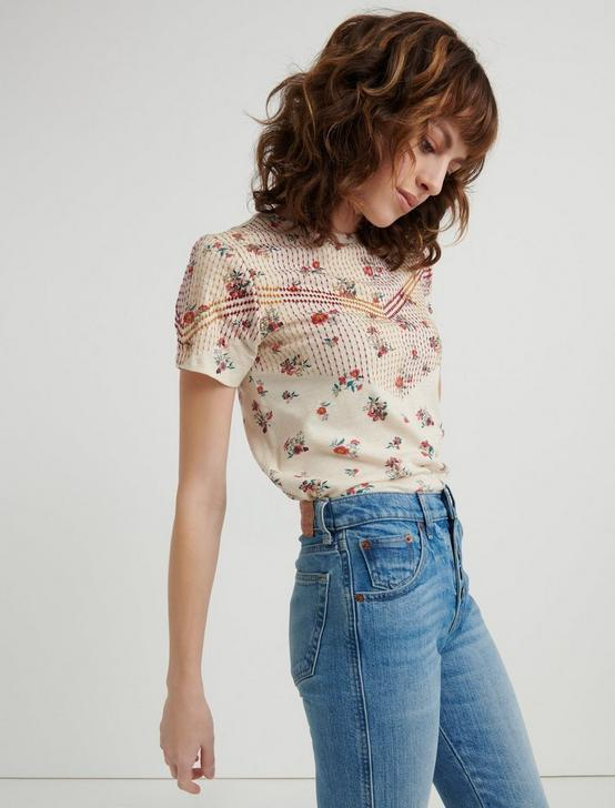 ALL OVER FLORAL EMBROIDERED TEE, NATURAL MULTI, productTileDesktop