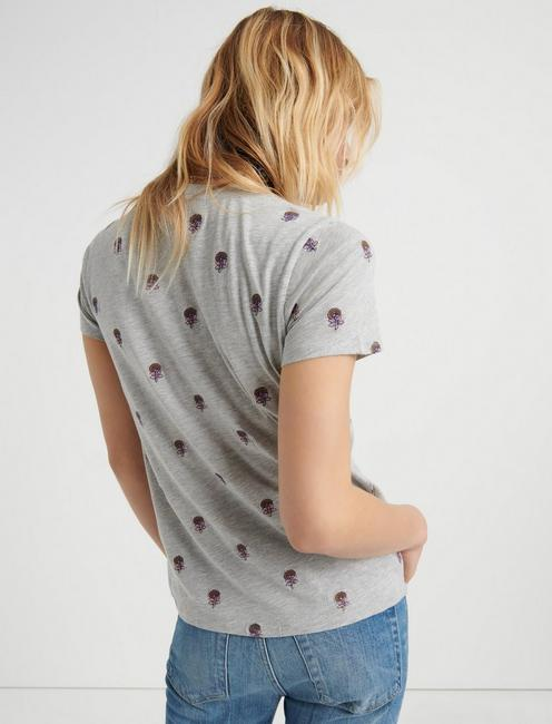 ALL OVER EMBROIDERED TEE, HEATHER GREY