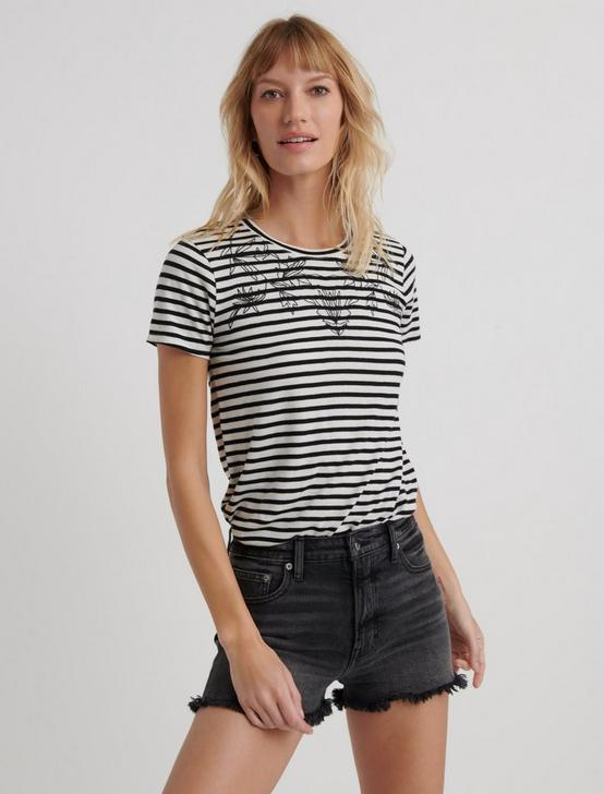 STRIPE EMBROIDERED TEE, BLACK MULTI, productTileDesktop