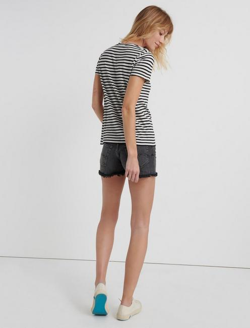 STRIPE EMBROIDERED TEE, BLACK MULTI