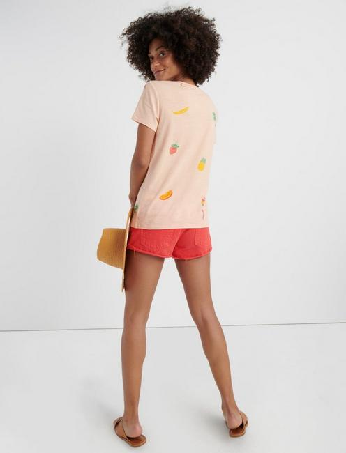 BIRDS AND FRUIT TEE, TROPICAL PEACH