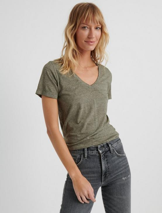 VENICE BURNOUT V-NECK TEE, OLIVE, productTileDesktop