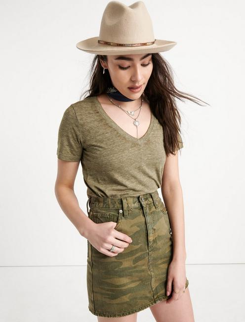 VENICE BURNOUT V-NECK TEE, IVY GREEN