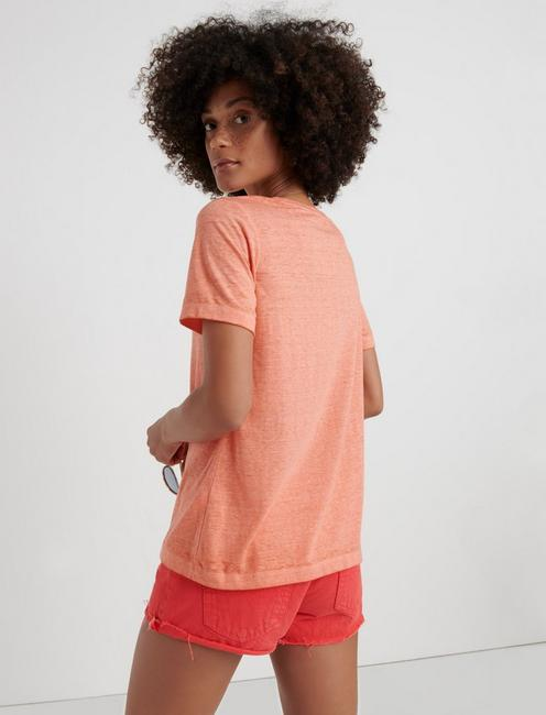 VENICE BURNOUT V-NECK TEE, #8386 PERSIMMON