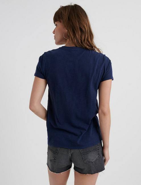 FLORAL CUT OUT TEE, AMERICAN NAVY