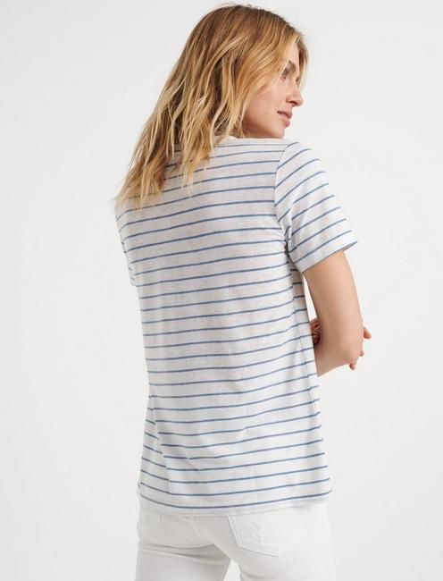 VENICE BURNOUT V-NECK SHIRTAIL TEE, BLUE STRIPE