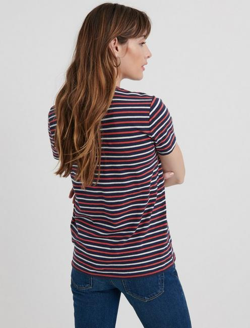 STRIPE CREW NECK TEE, NAVY MULTI