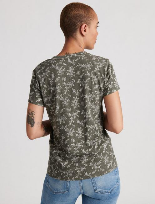 CREW NECK PRINTED TEE, GREEN MULTI