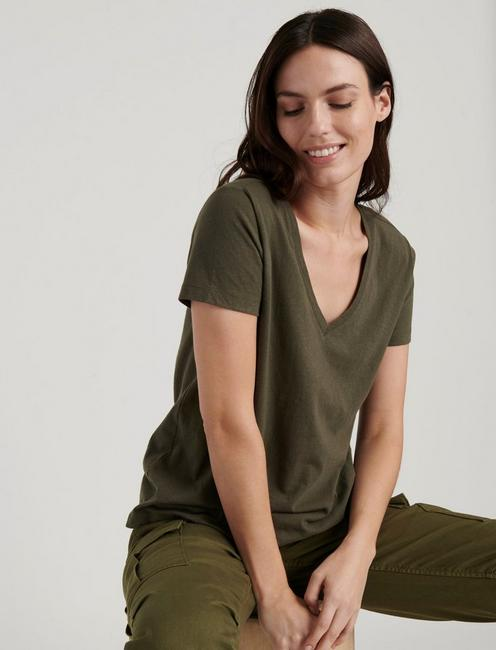 SOLID V-NECK TEE, FOREST NIGHT