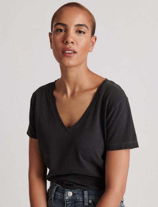SOLID V-NECK TEE, WASHED BLACK, productTileDesktop
