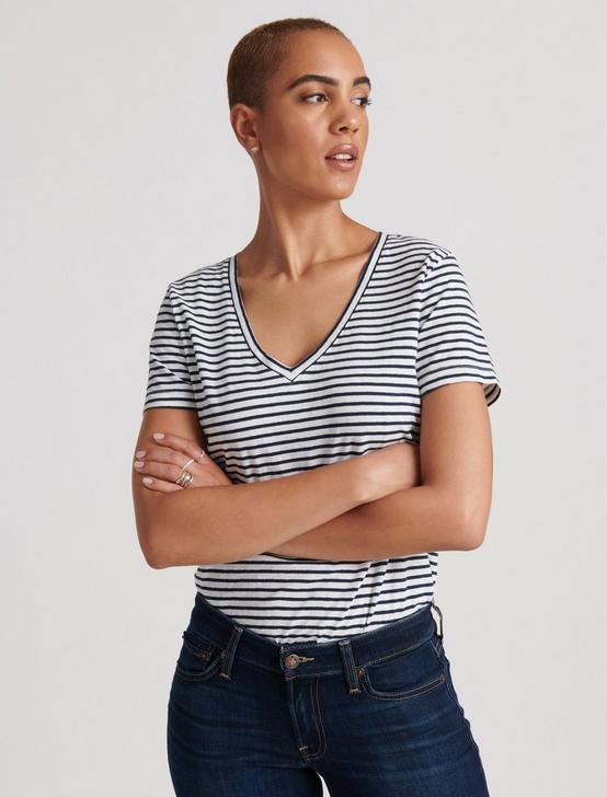 STRIPED ESSENTIAL V-NECK TEE, NAVY STRIPE, productTileDesktop