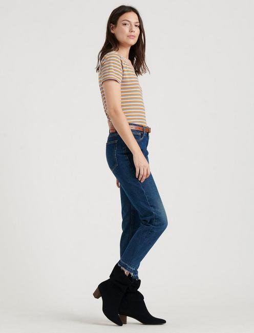 STRIPED ESSENTIAL V-NECK TEE, BLUE STRIPE