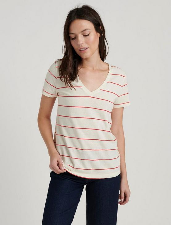 V-NECK STRIPE TEE, RED STRIPE, productTileDesktop