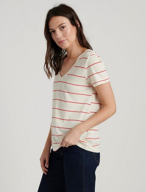 V-NECK STRIPE TEE, RED STRIPE