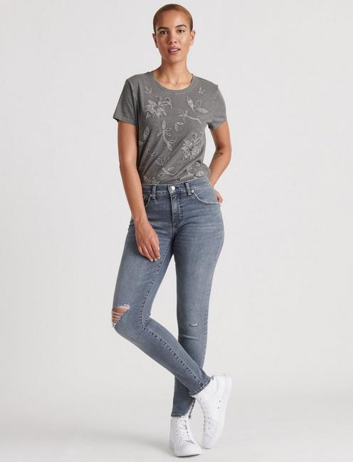 EMBROIDERED APPLIQUE TEE, STEEL GRAY