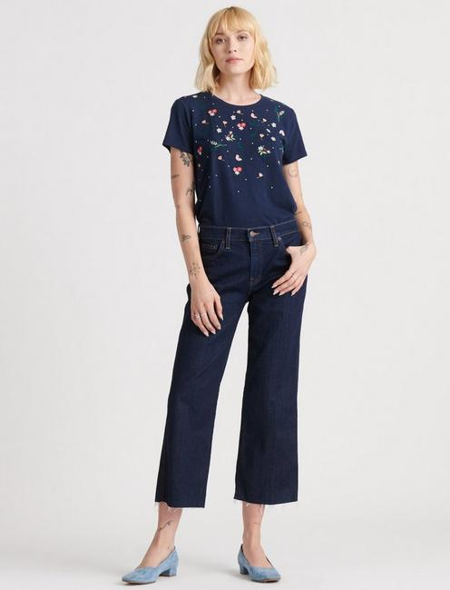 MULTI-COLOR EMBROIDERED TEE, NAVY