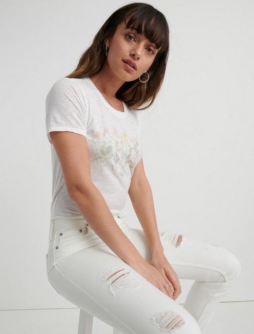 FLORAL BANNER TEE, LUCKY WHITE