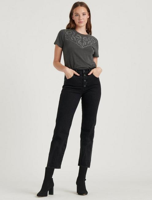 EMBROIDERED YOKE SHORT SLEEVE CREW, WASHED BLACK
