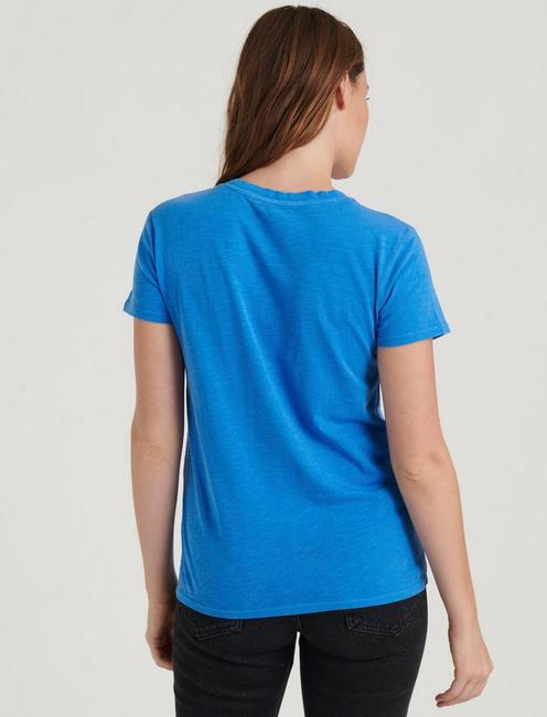 EMBROIDERED YOKE SHORT SLEEVE CREW, PRINCESS BLUE
