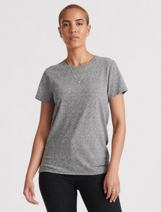ESSENTIAL CREW NECK TEE, HEATHER GREY, productTileDesktop