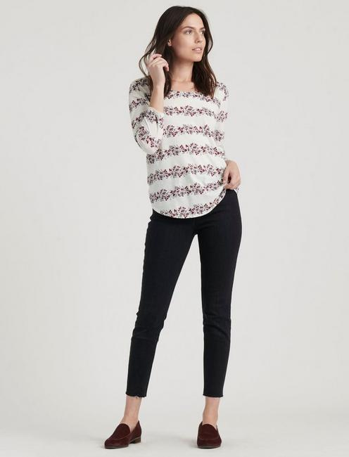 FLORAL STRIPE SCOOP TEE,