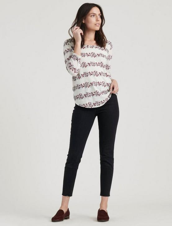 FLORAL STRIPE SCOOP TEE, CREAM MULTI, productTileDesktop