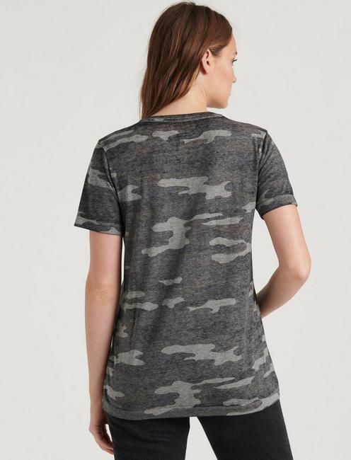 CAMO V-NECK TEE, GREY MULTI