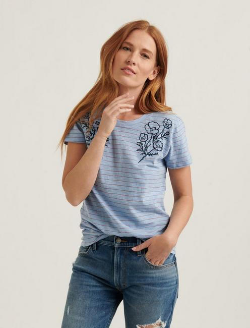 STRIPE FLORAL EMBROIDERED TEE, BLUE MULTI
