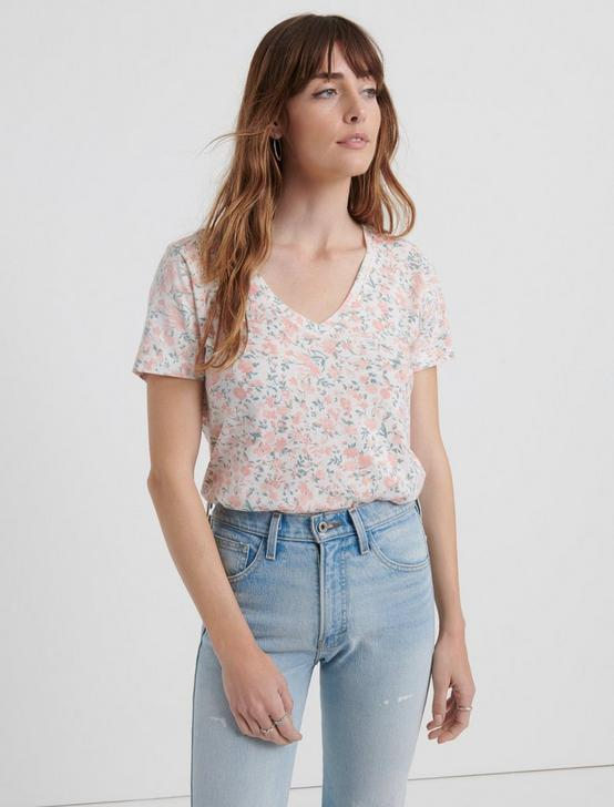 V-NECK FLORAL TEE, CORAL MULTI, productTileDesktop