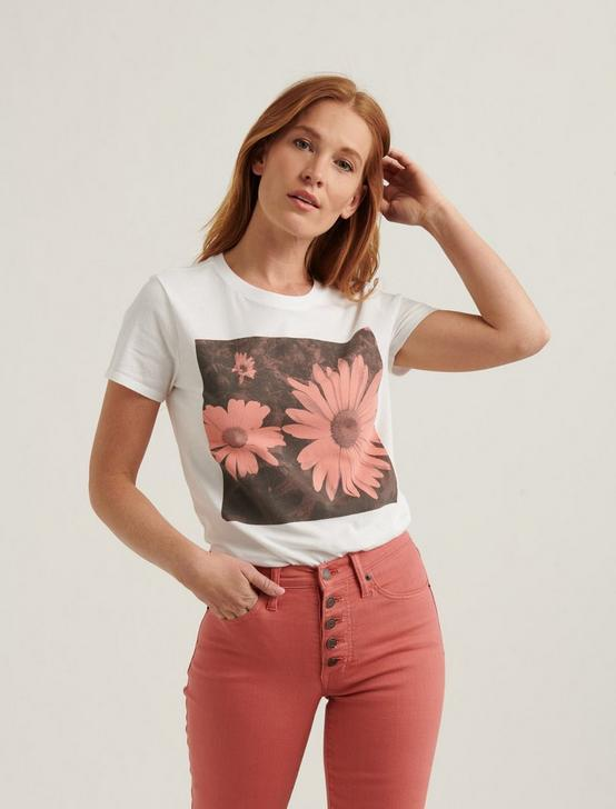 DAISY BLOCK CREW NECK TEE, LUCKY WHITE, productTileDesktop