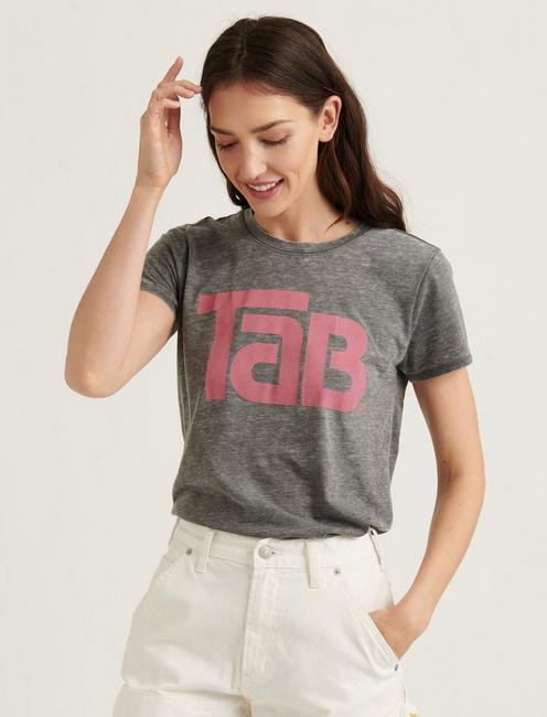 TAB COLA TEE, HEATHER GREY